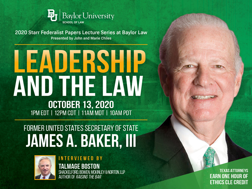 Former Secretary of State James A. Baker, III, Speaks at Chiles Lecture Series