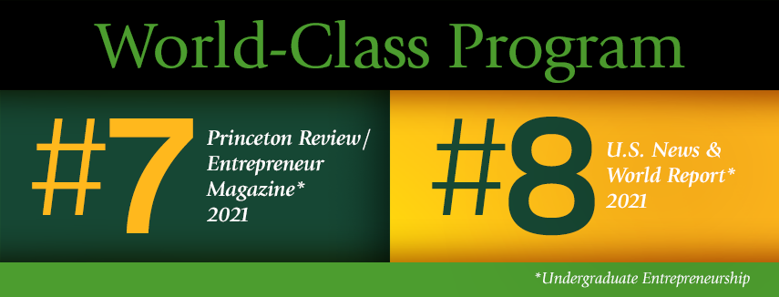 Baylor Entrepreneurship, World Class Program, #7 Princeton Review, #8 US News and World Report