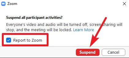 graphic of how to suspend all participant activities