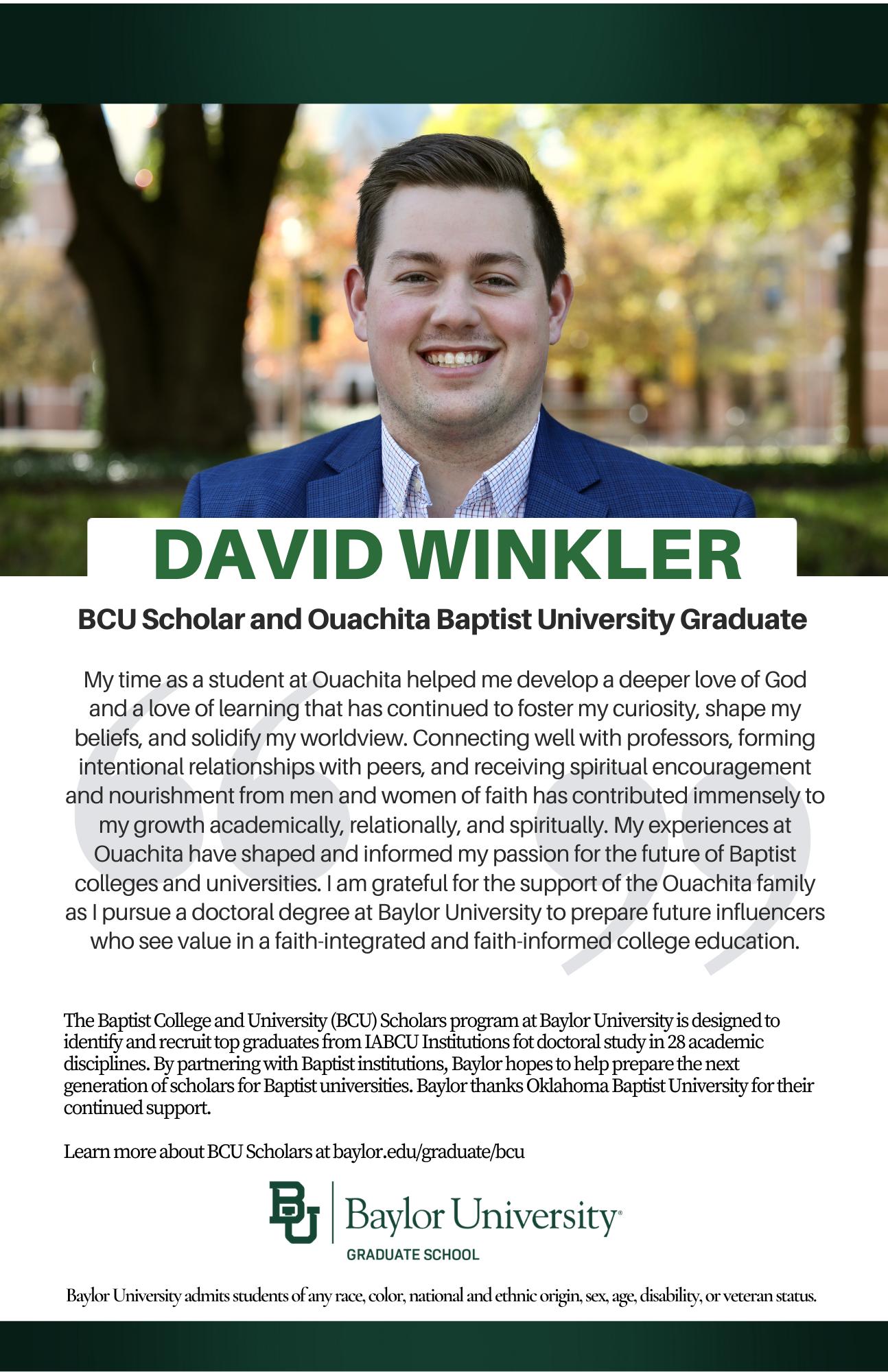 David Winkler BCU ad