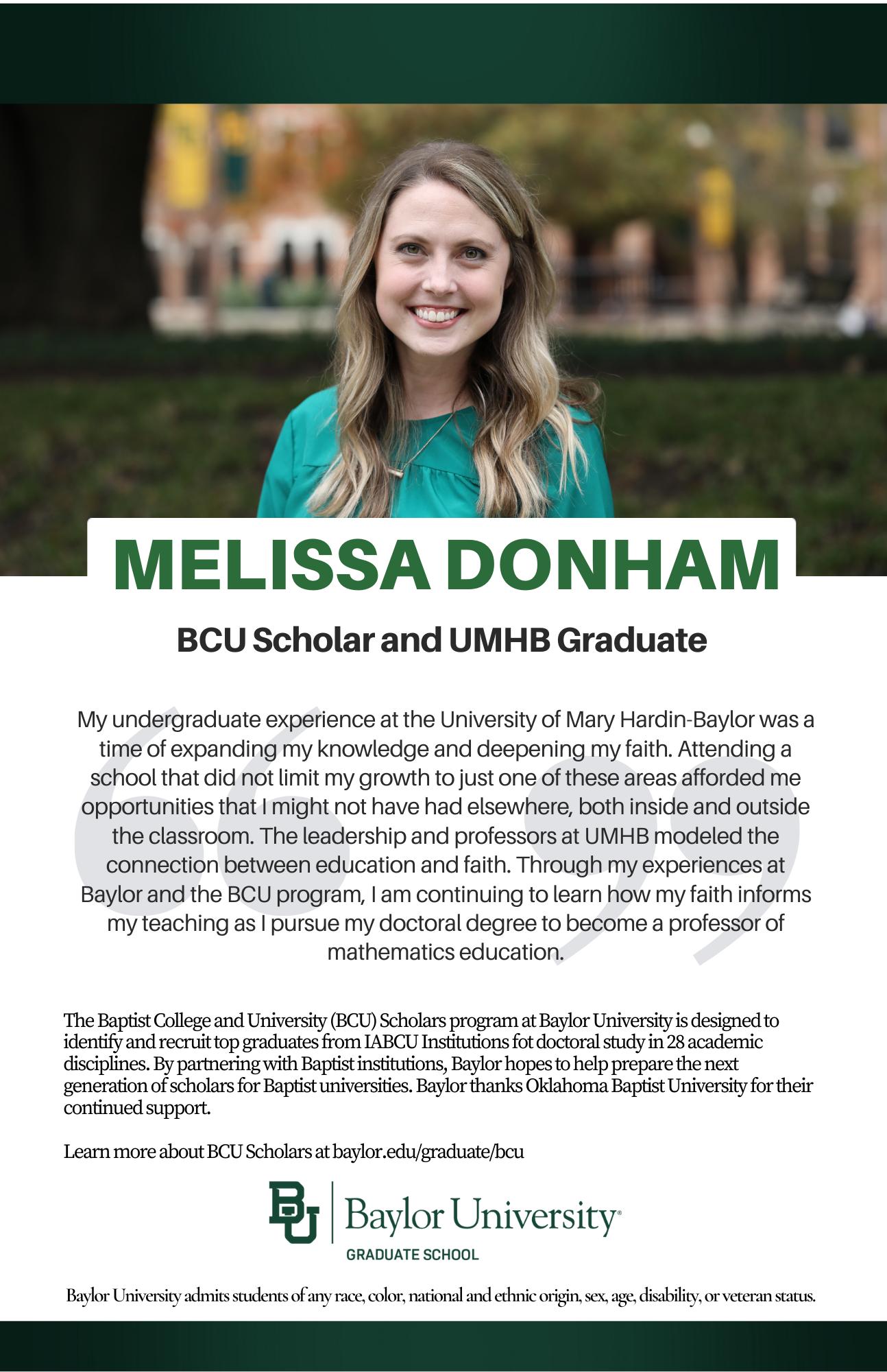 Melissa Donham BCU ad