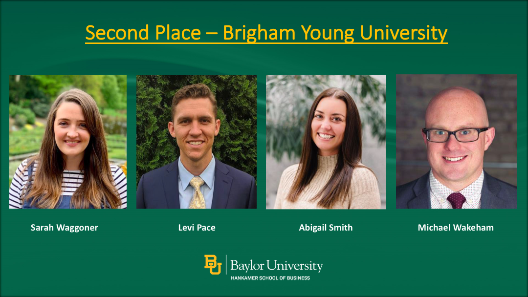 Second Place winners: Brigham Young University students Sarah Waggoner, Levi Pace, Angela Smith, Michael Wakeham