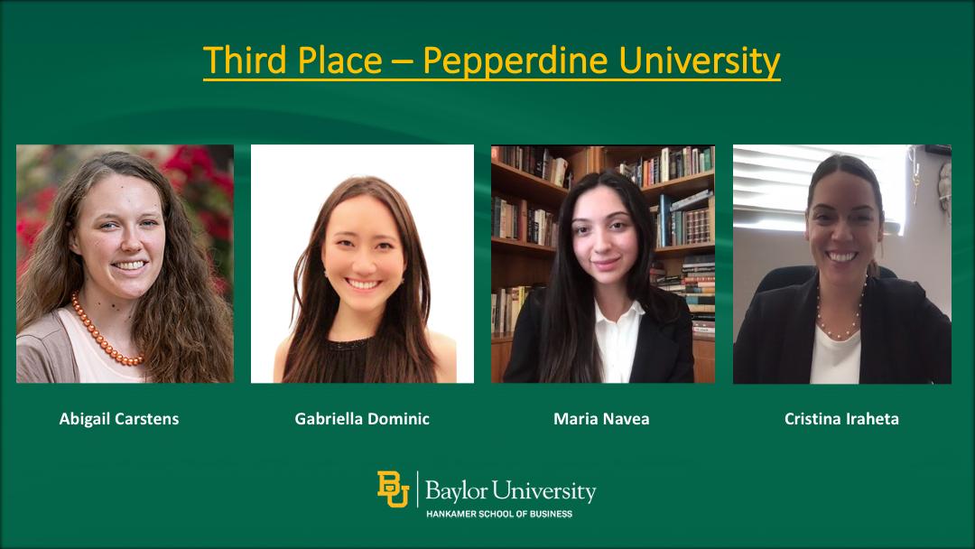 Third Place winners: Pepperdine University students Gabriella Dominic, Maria Navea, Abigail Carstens, Cristina Iraheta