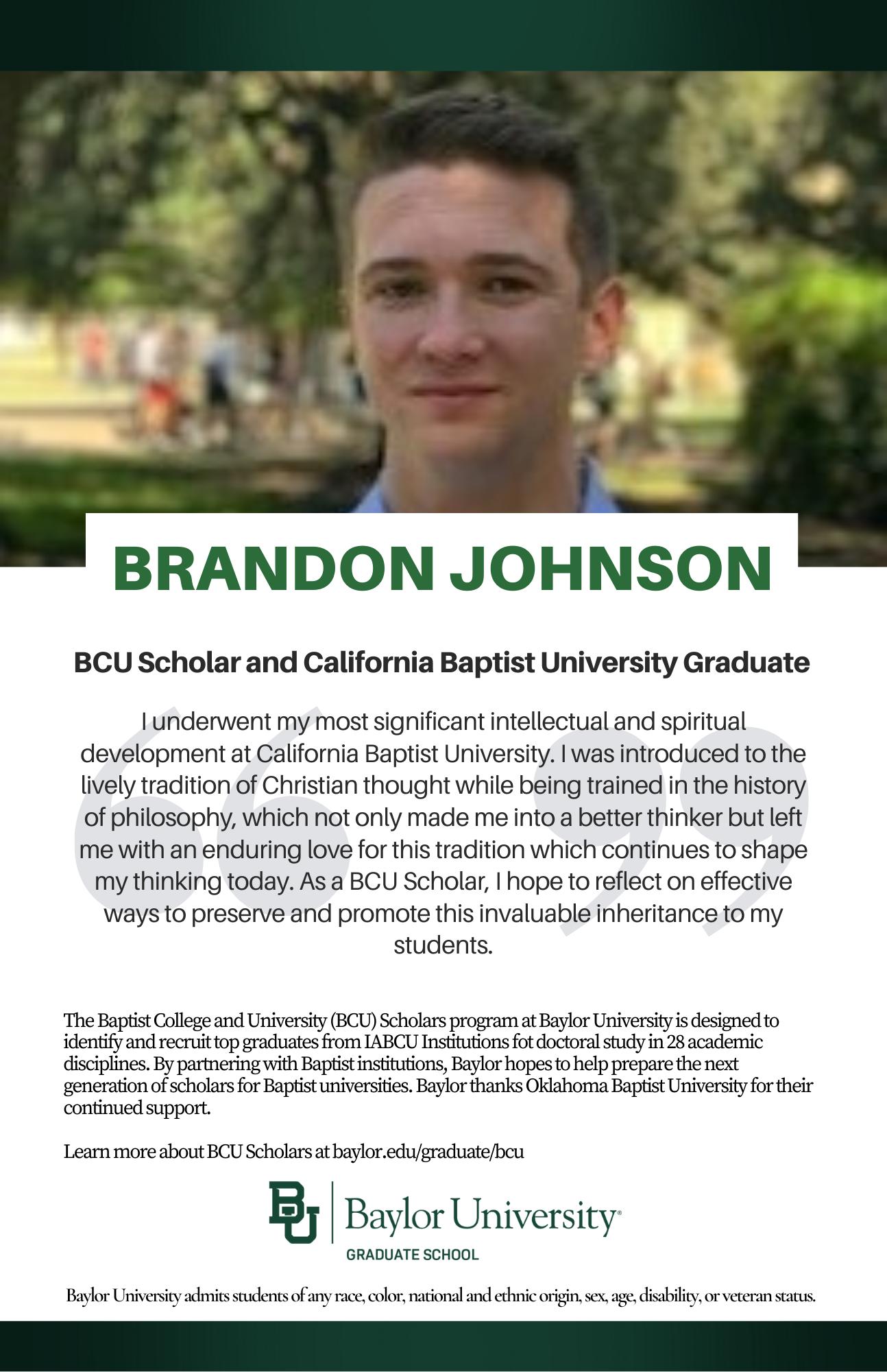 Brandon Johnson BCU ad