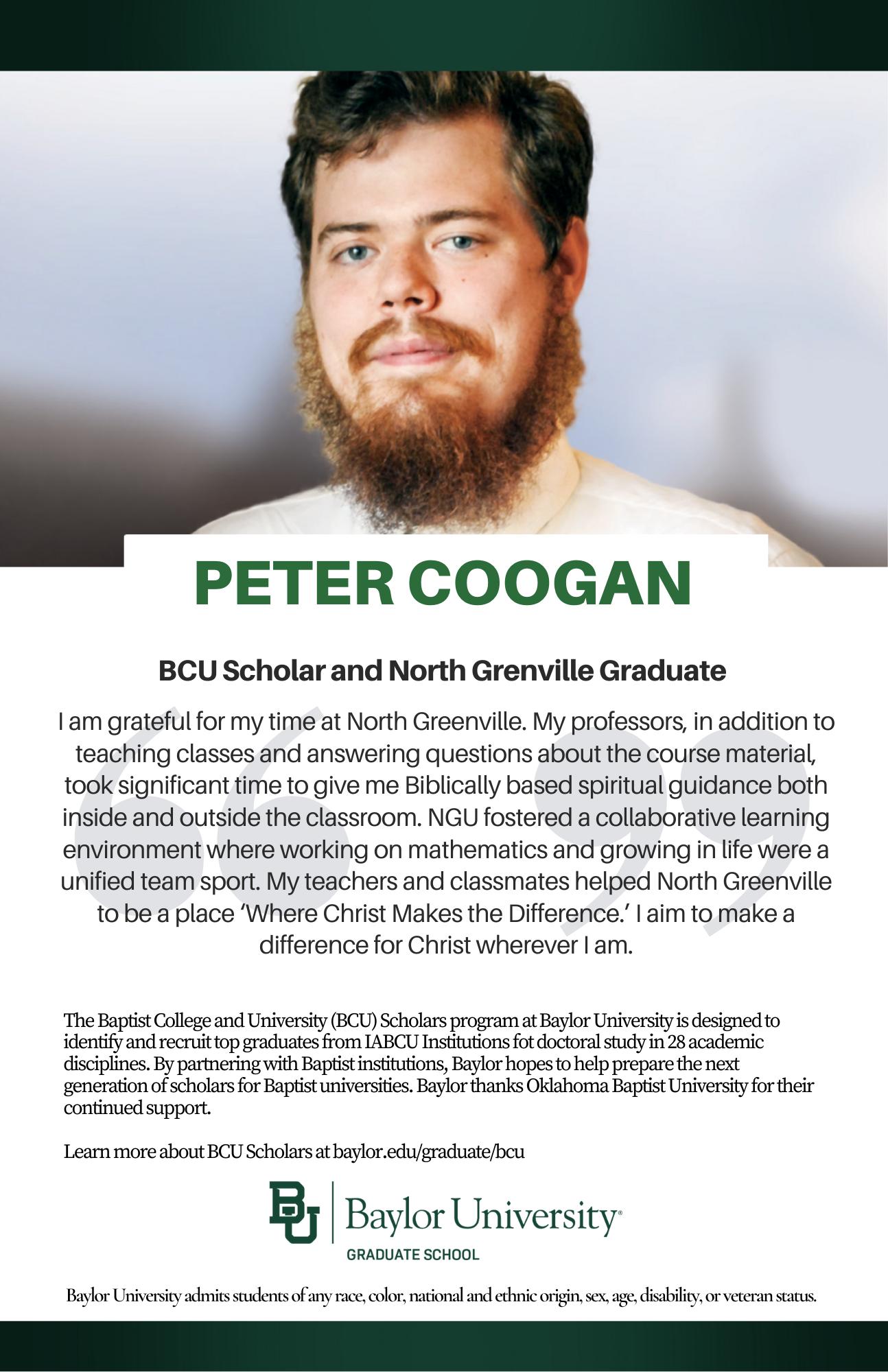 Peter Coogan BCU ad