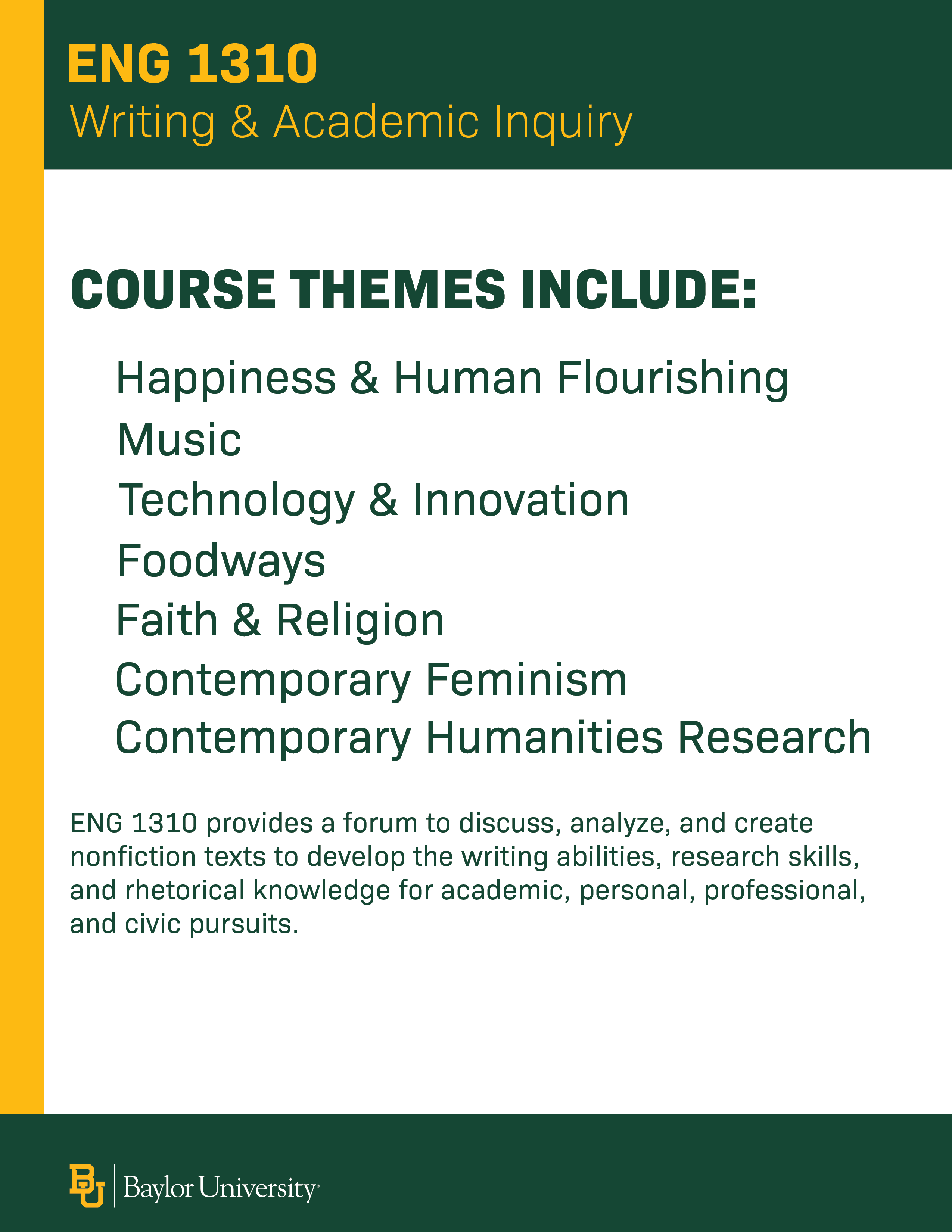 Course themes for English 1310