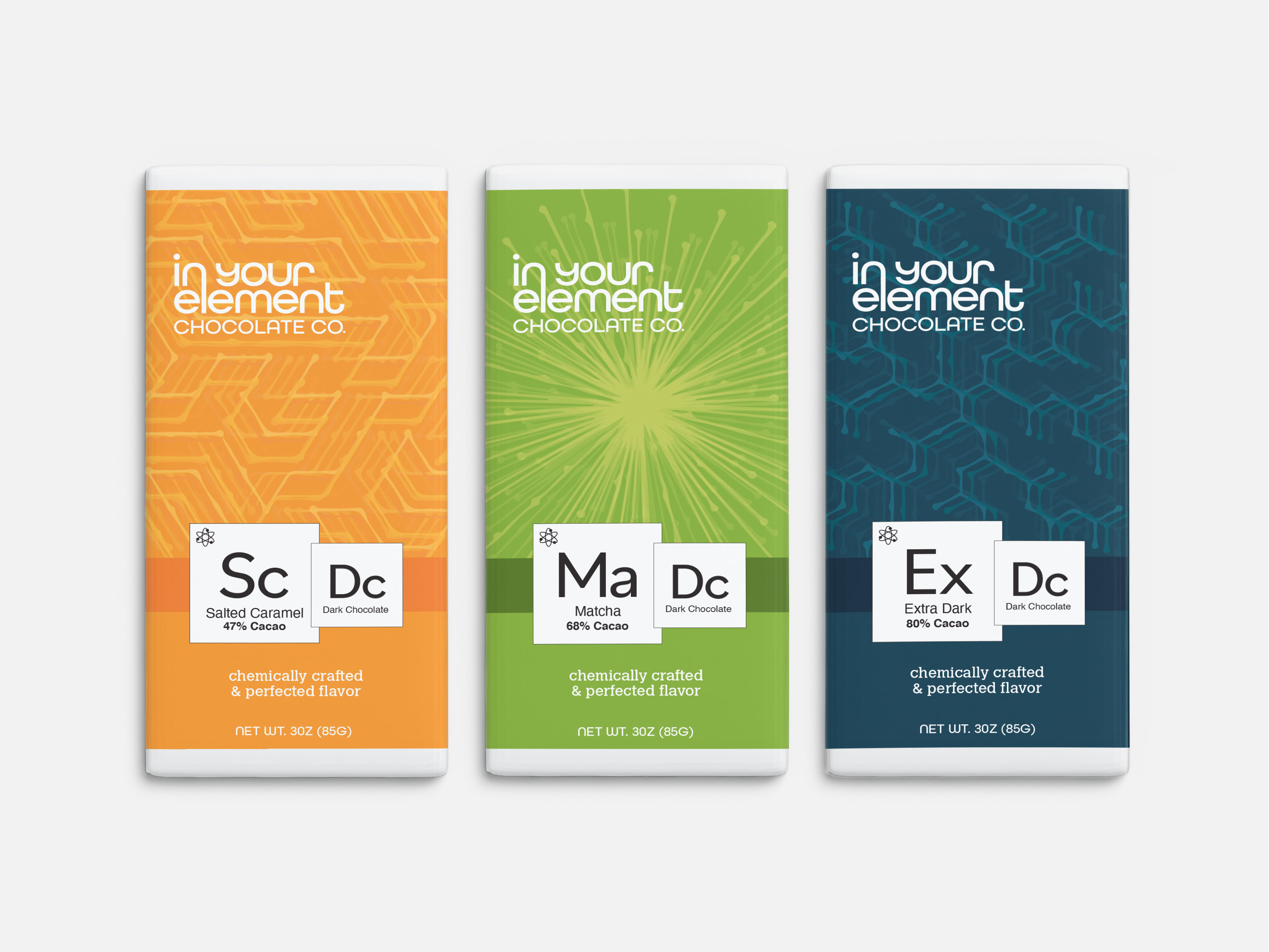 Catherine Ellis, In Your Element Chocolate Co., Package Design, Spring 2021