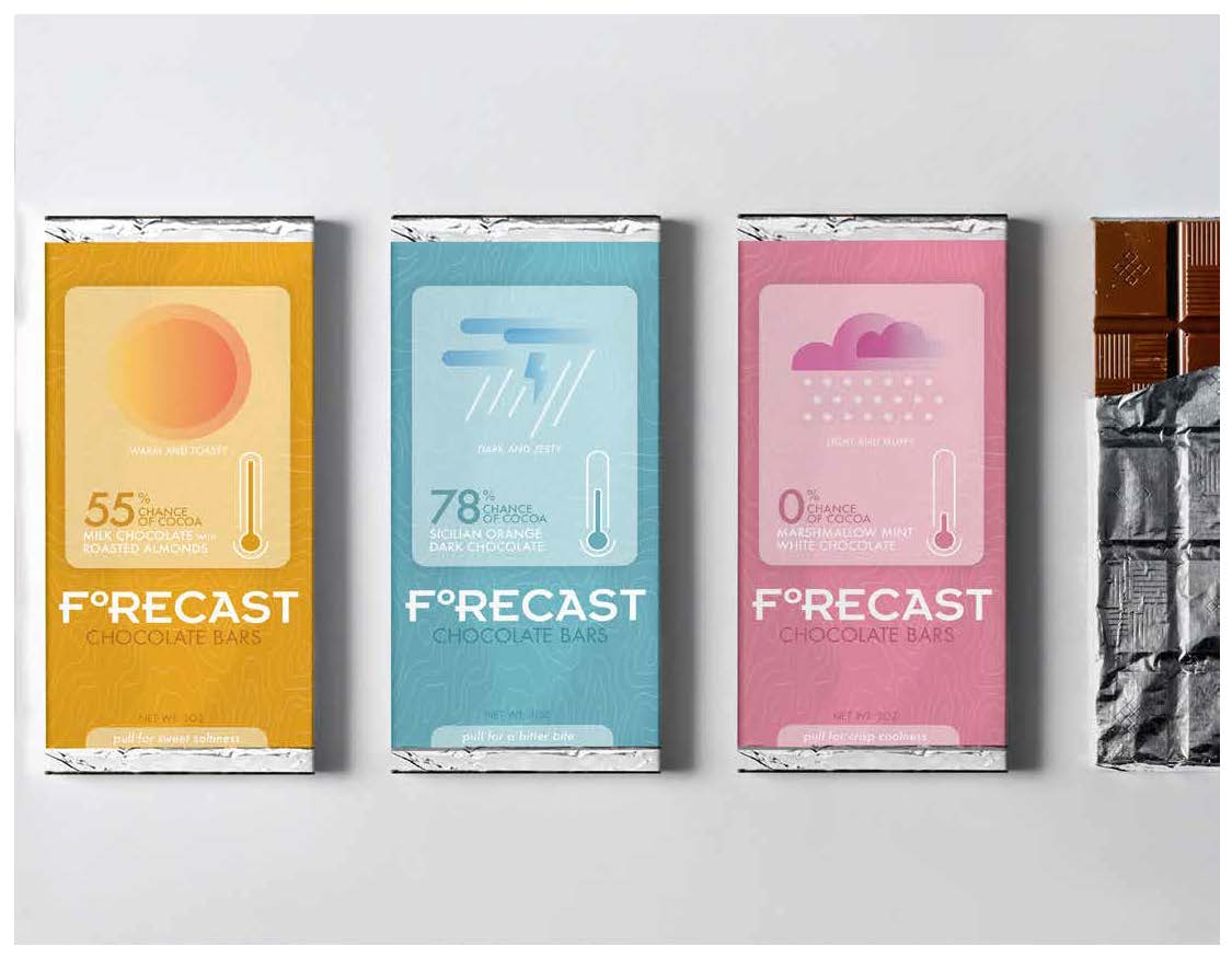 Carter Bruey, Forecast Chocolate Bars (View 1), Package Design, Spring 2021