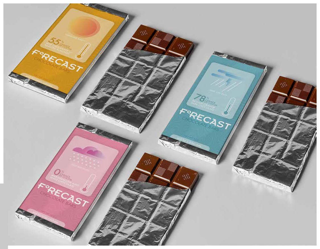 Carter Bruey, Forecast Chocolate Bars (View 2), Package Design, Spring 2021