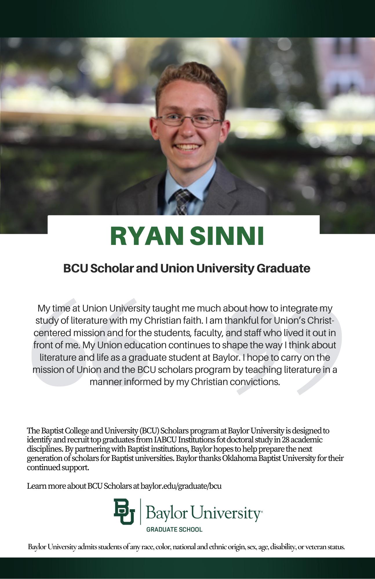 Ryan Sinni new BCU ad