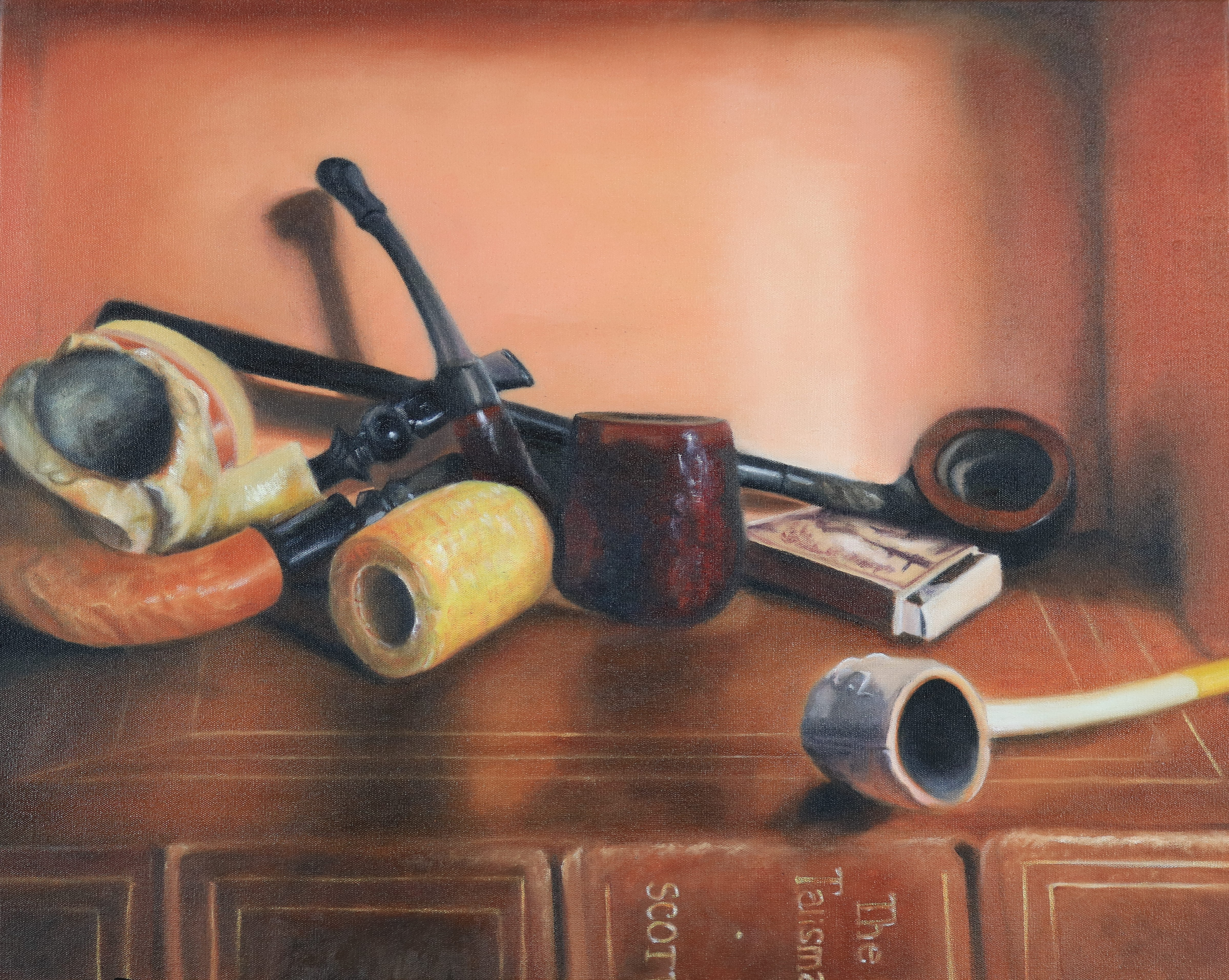 Ruth Rea, With Pipe and Book, Oil on Canvas, Fall 2019, 16 x 20