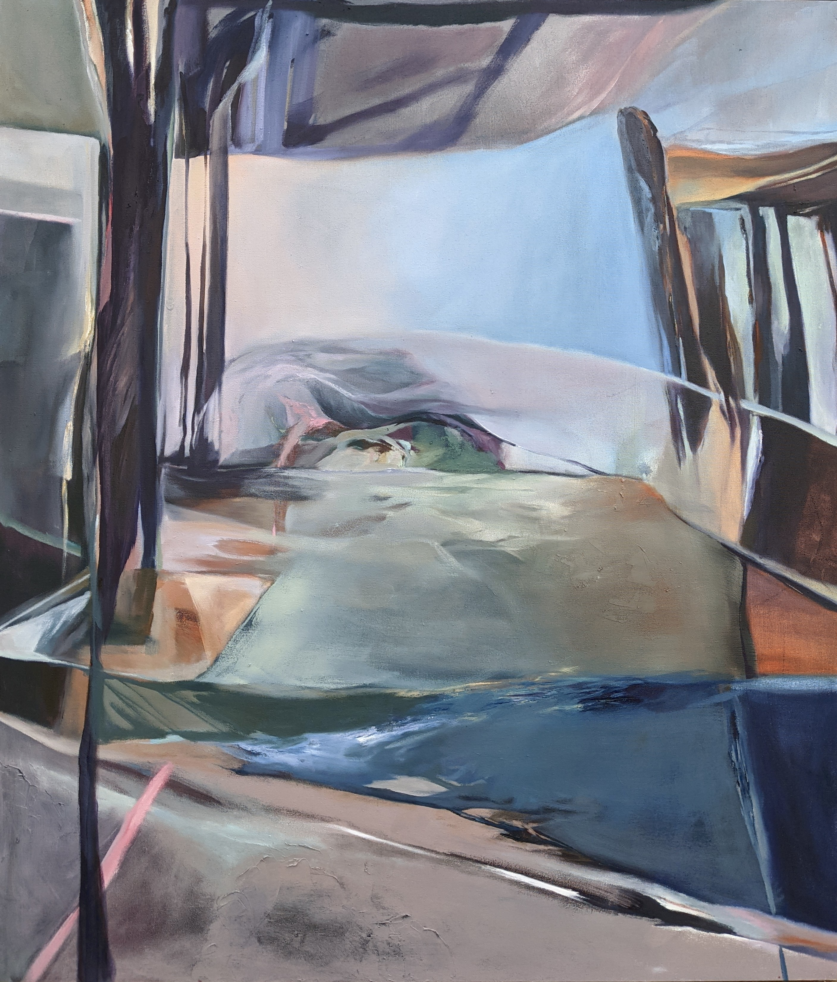 Chenxi Gao, Floating, Oil on Canvas, March 2021, 52 x 48