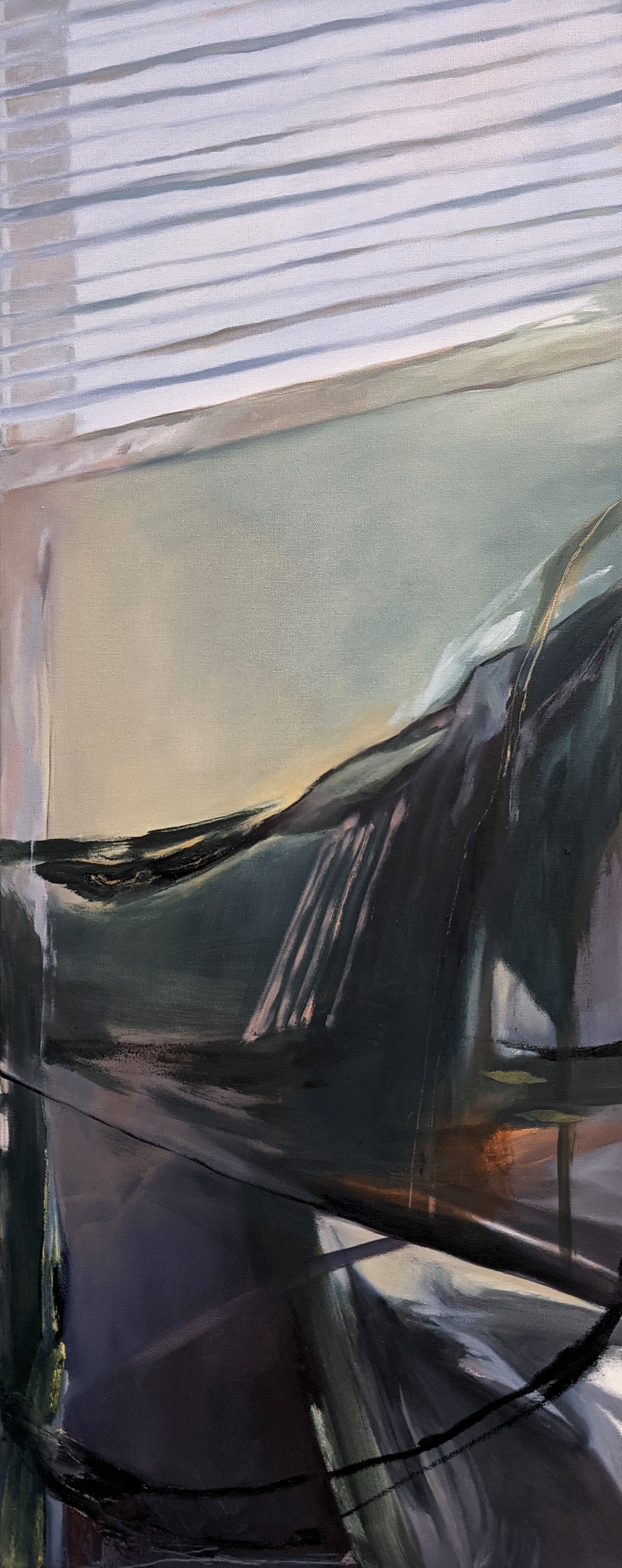 Chenxi Gao, Do Not Fall, Oil on Canvas, April 2021, 40 x 16