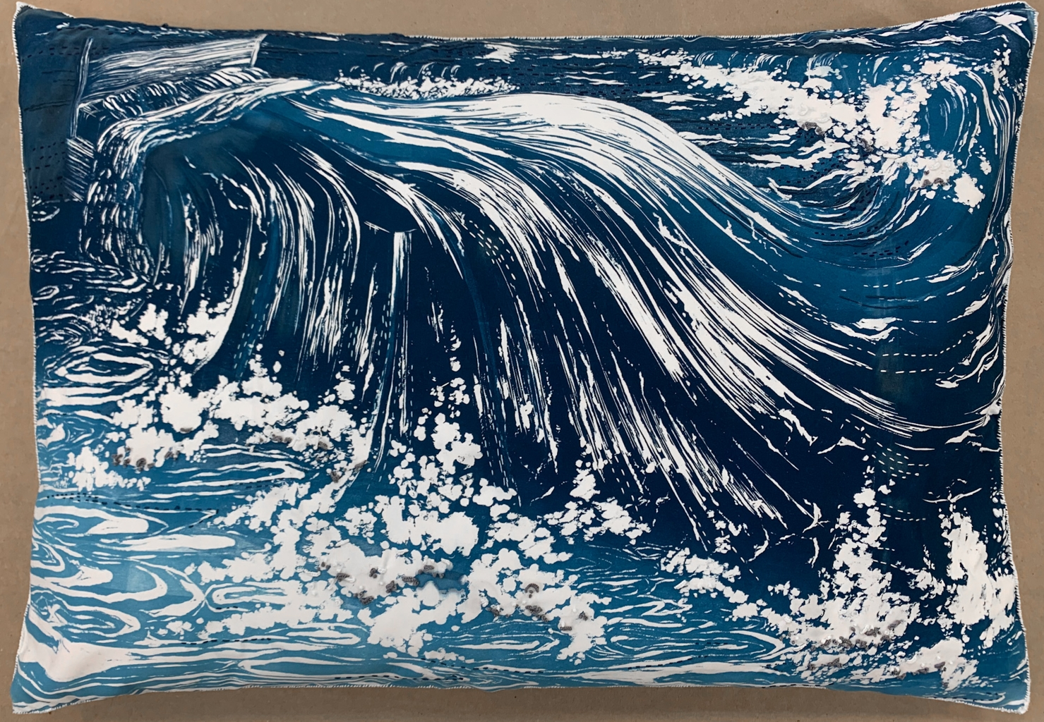 Claire Gustafson, Restless, Woodcut Print on Pillow & Embroidery, 2020, 20 x 28