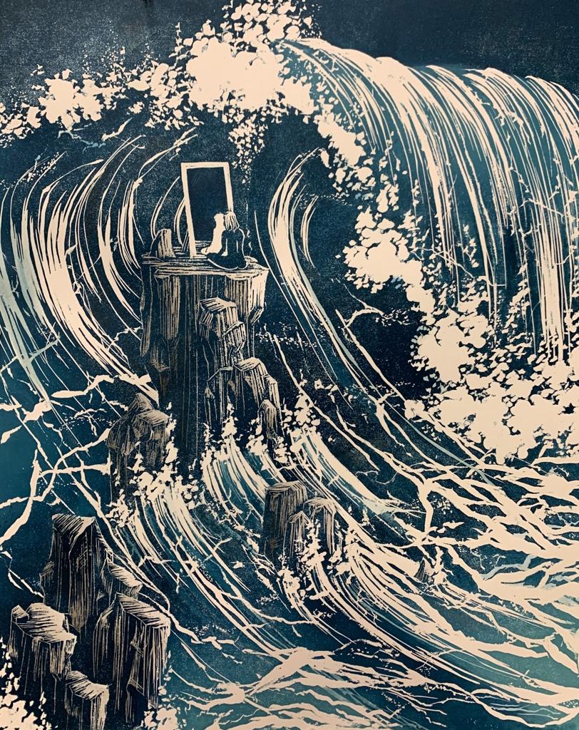 Claire Gustafson, Stranger, Woodcut Printer & Watercolor, 2021, 20 x 16