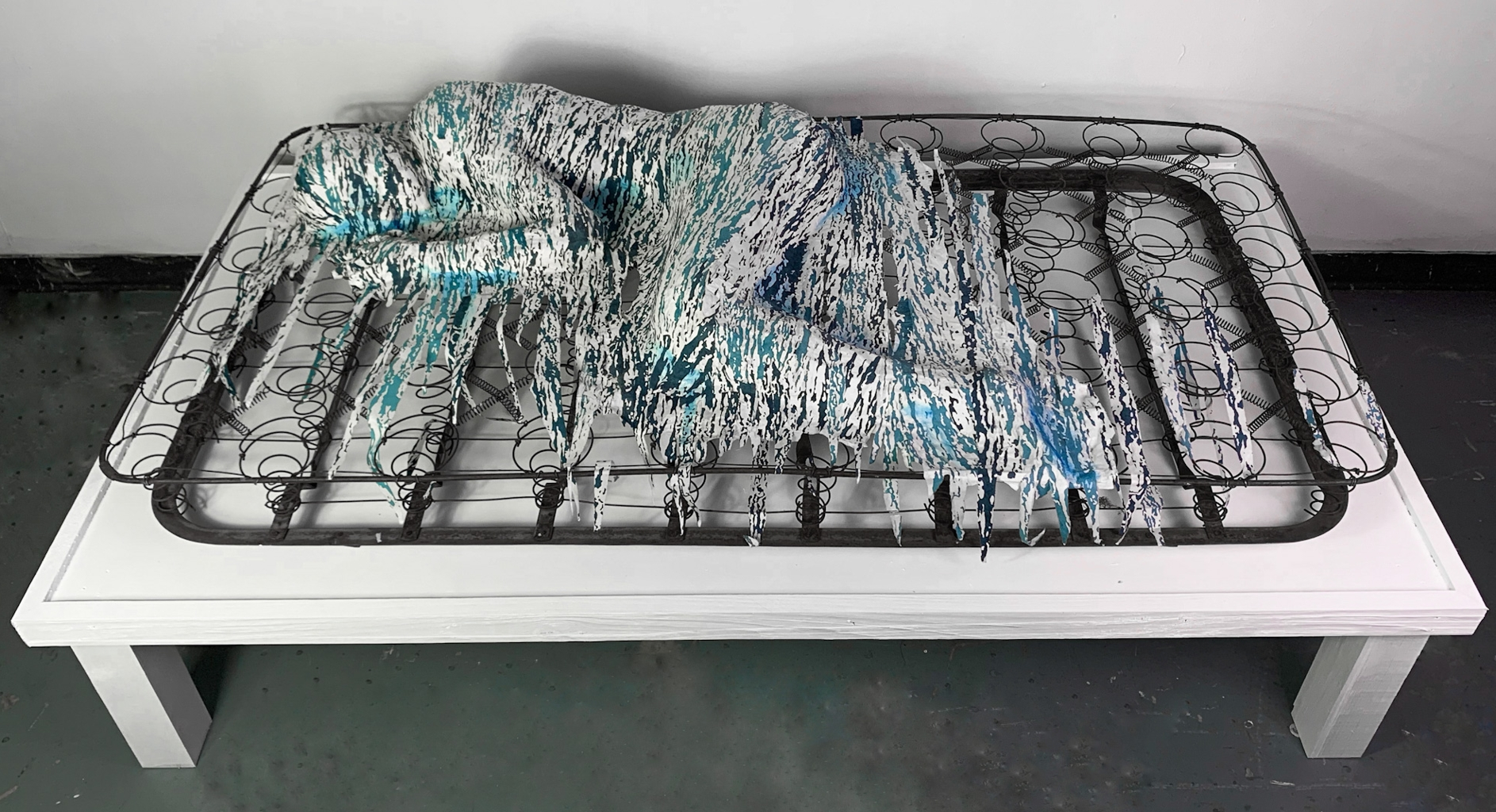 Claire Gustafson, Numb (view 1), Screen Print, Found Object, Wire, 2020-2021, 14 x 36.5  x 72.5