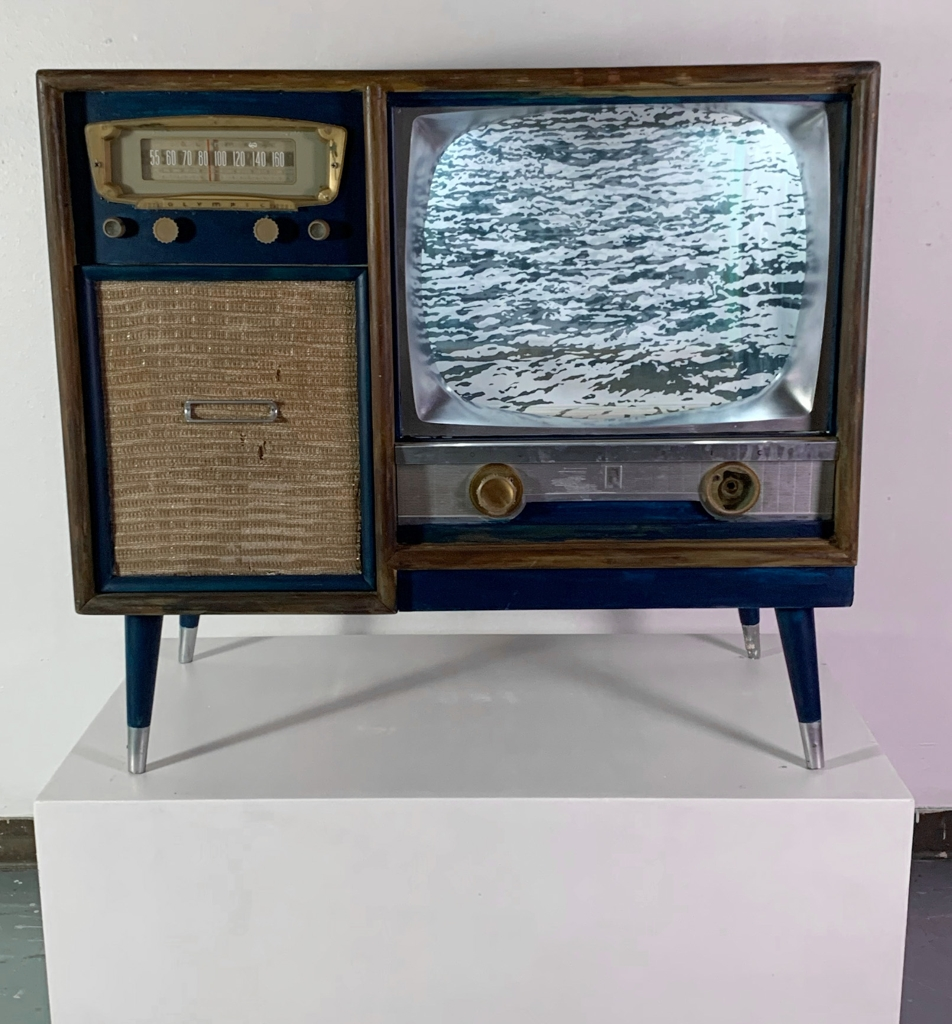 Claire Gustafson, Hidden (view 2), Woodcut Print, Screen Print, Found object, 2020-2021, 35 x 21 x 39