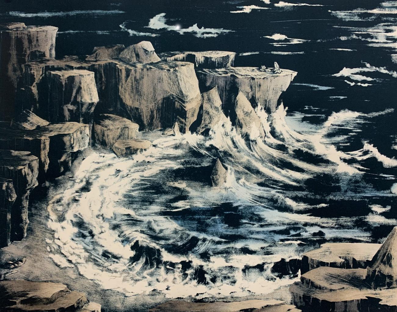 Claire Gustafson, Contemplate, Lithograph Print & Watercolor, 2021, 15.75 x 20