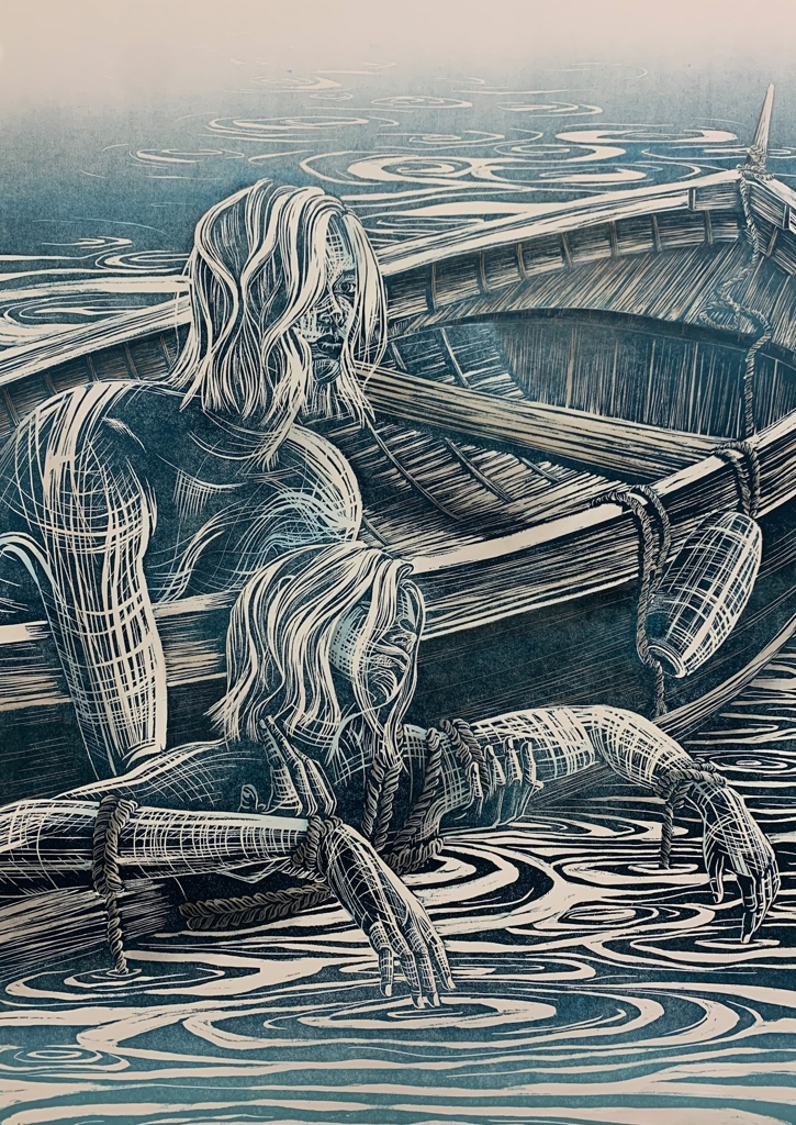 Claire Gustafson, Recover, Woodcut Print, Watercolor, 2021, 28 x 19.5