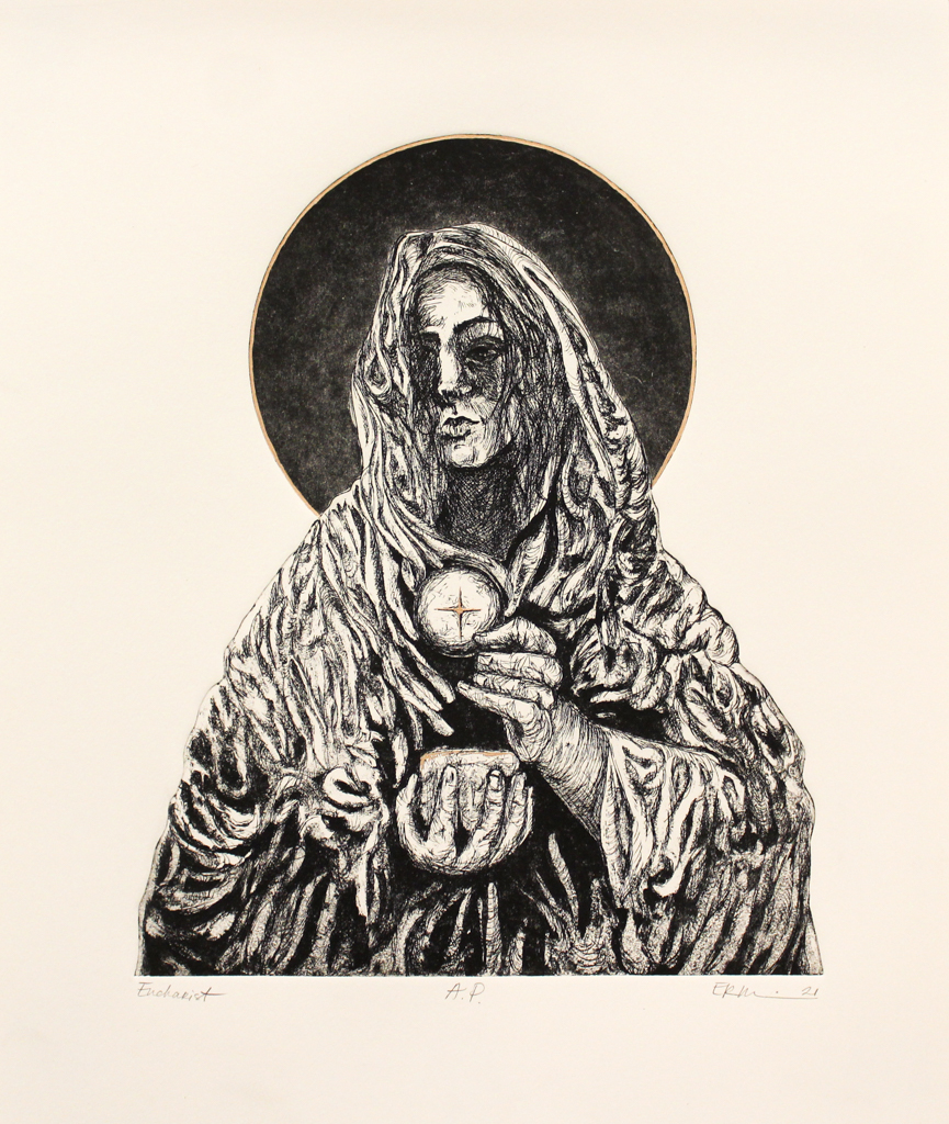 Emily Rand Wilson, Eucharist, Etching & Gold Leaf, Spring 2021, 20 x 17.5 Framed