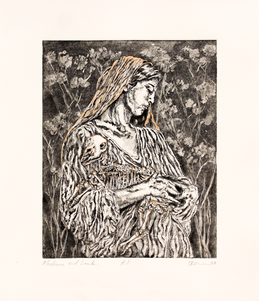 Emily Rand Wilson, Madonna and Lamb, Etching & Gold Leaf, Fall 2020, 18 x 16 Framed