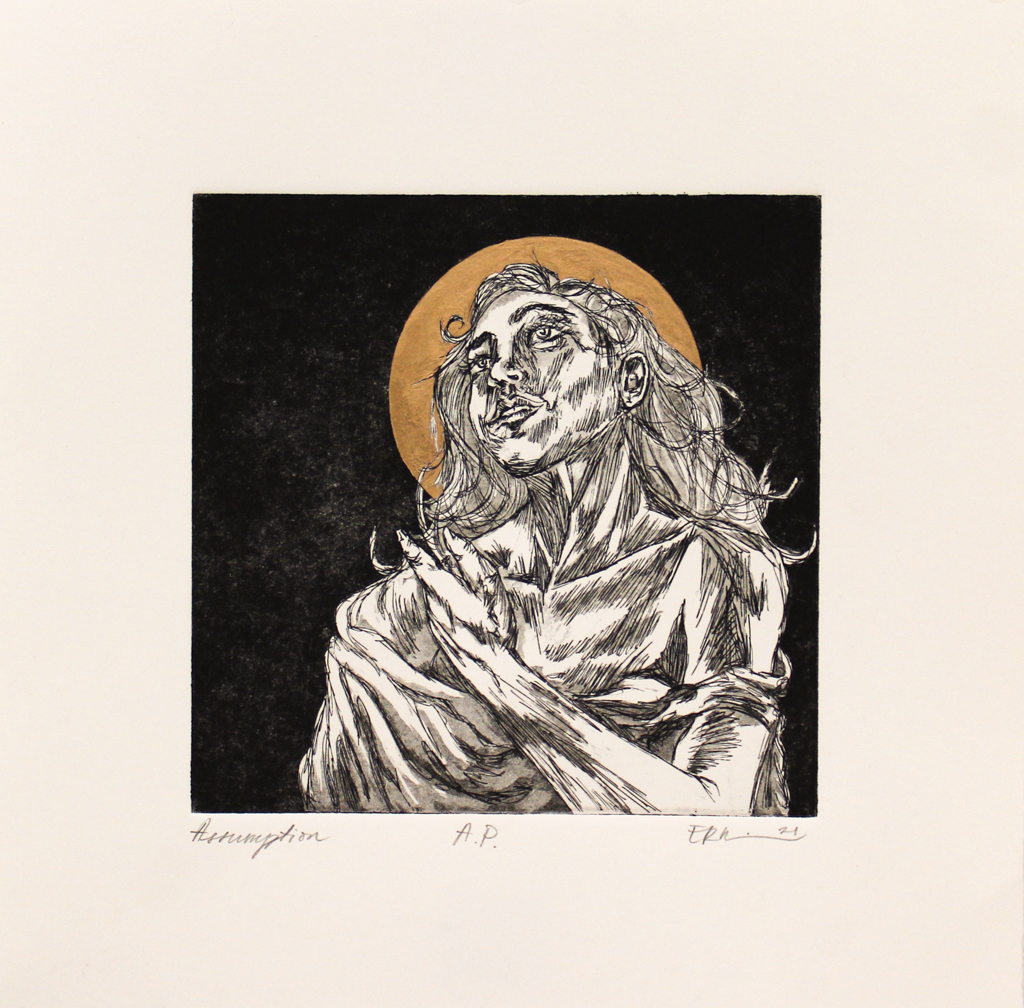 Emily Rand Wilson, Assumption, Photopolymer Etching & Gold Leaf, Spring 2021, 14 x 14 Framed