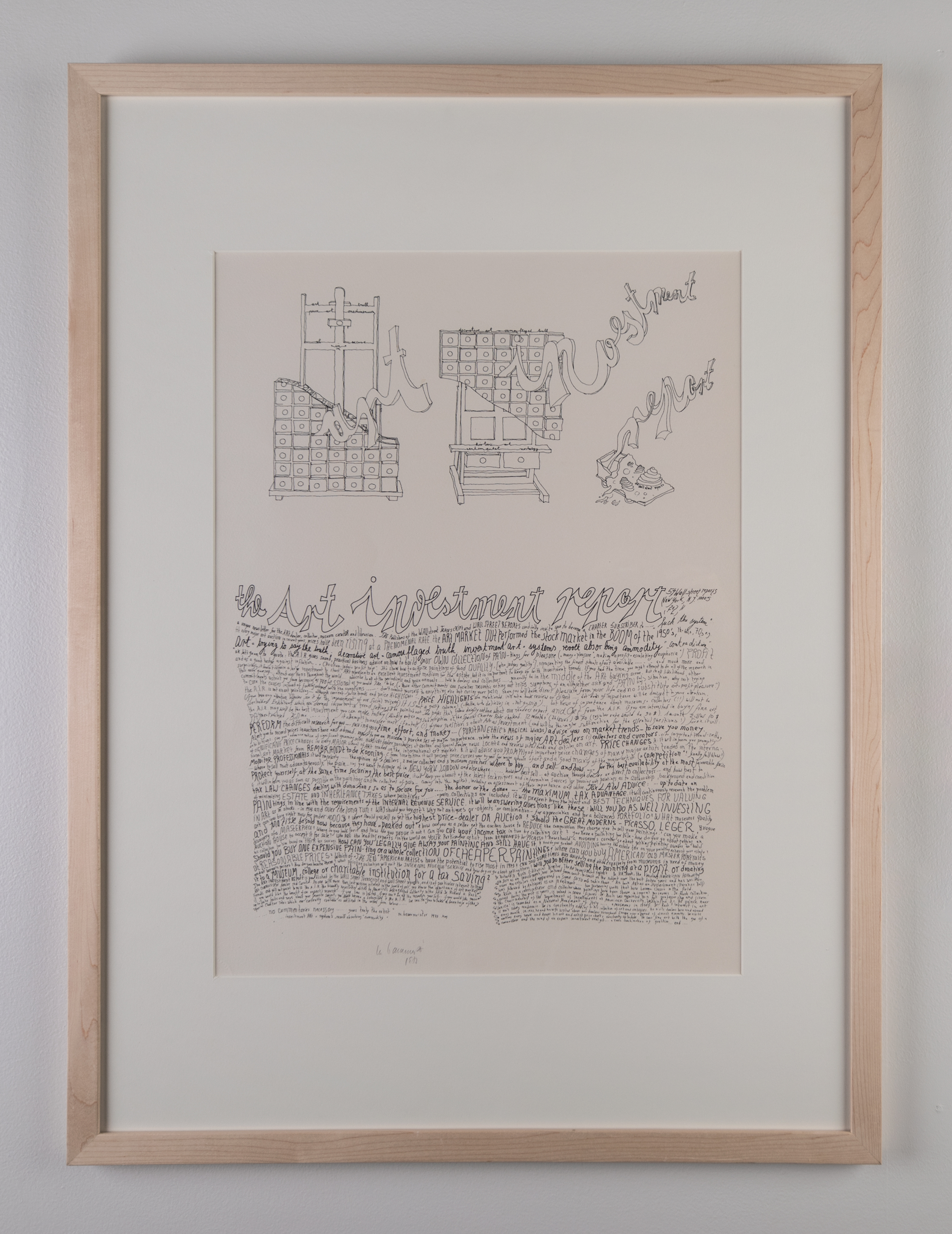 Mary Bauermeister, Art Investment Report, Lithography, 20.5in. x 15.5in., 1973