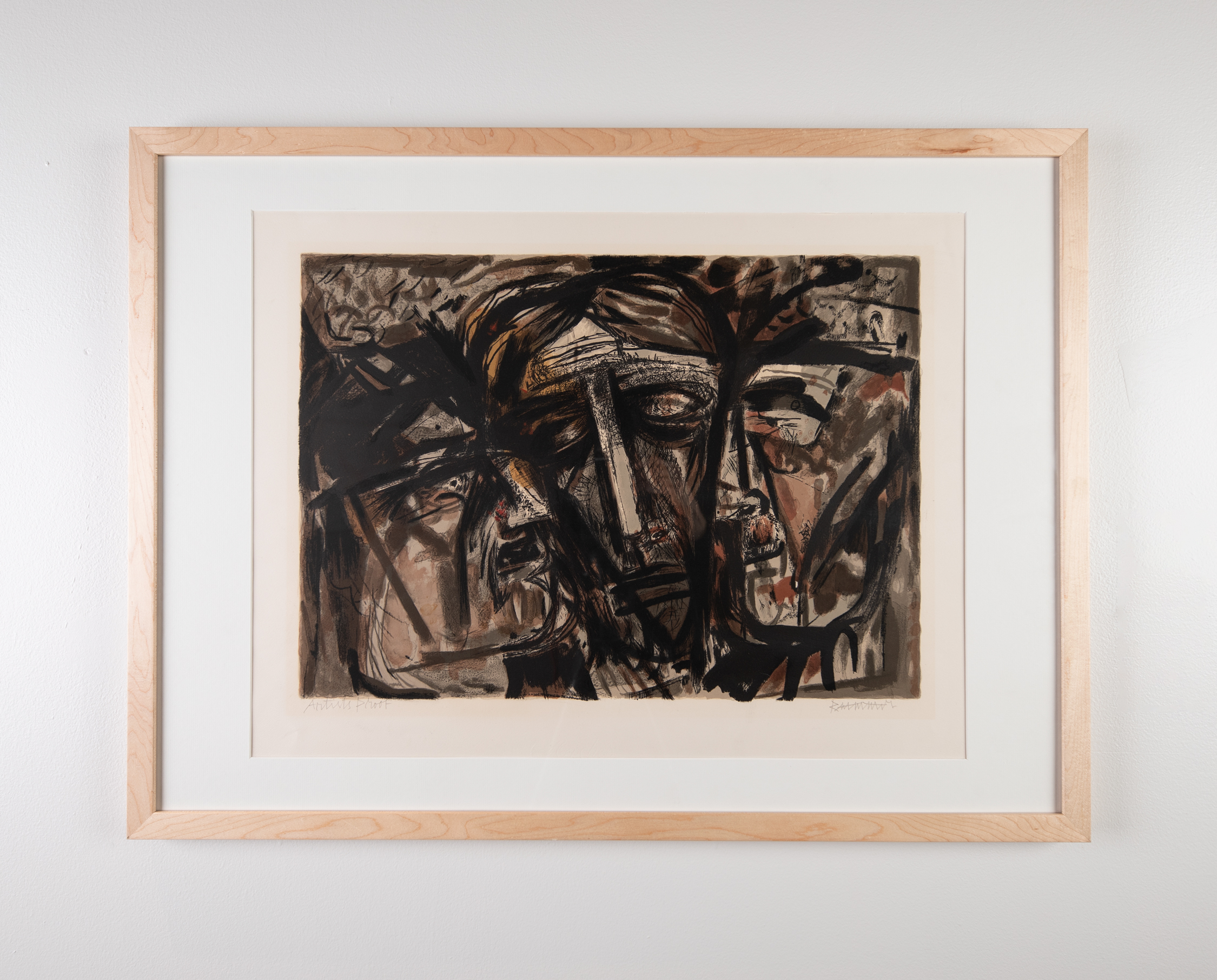 Abraham Rattner, Three Heads, Lithography, 21in. x 27.5in., 1969