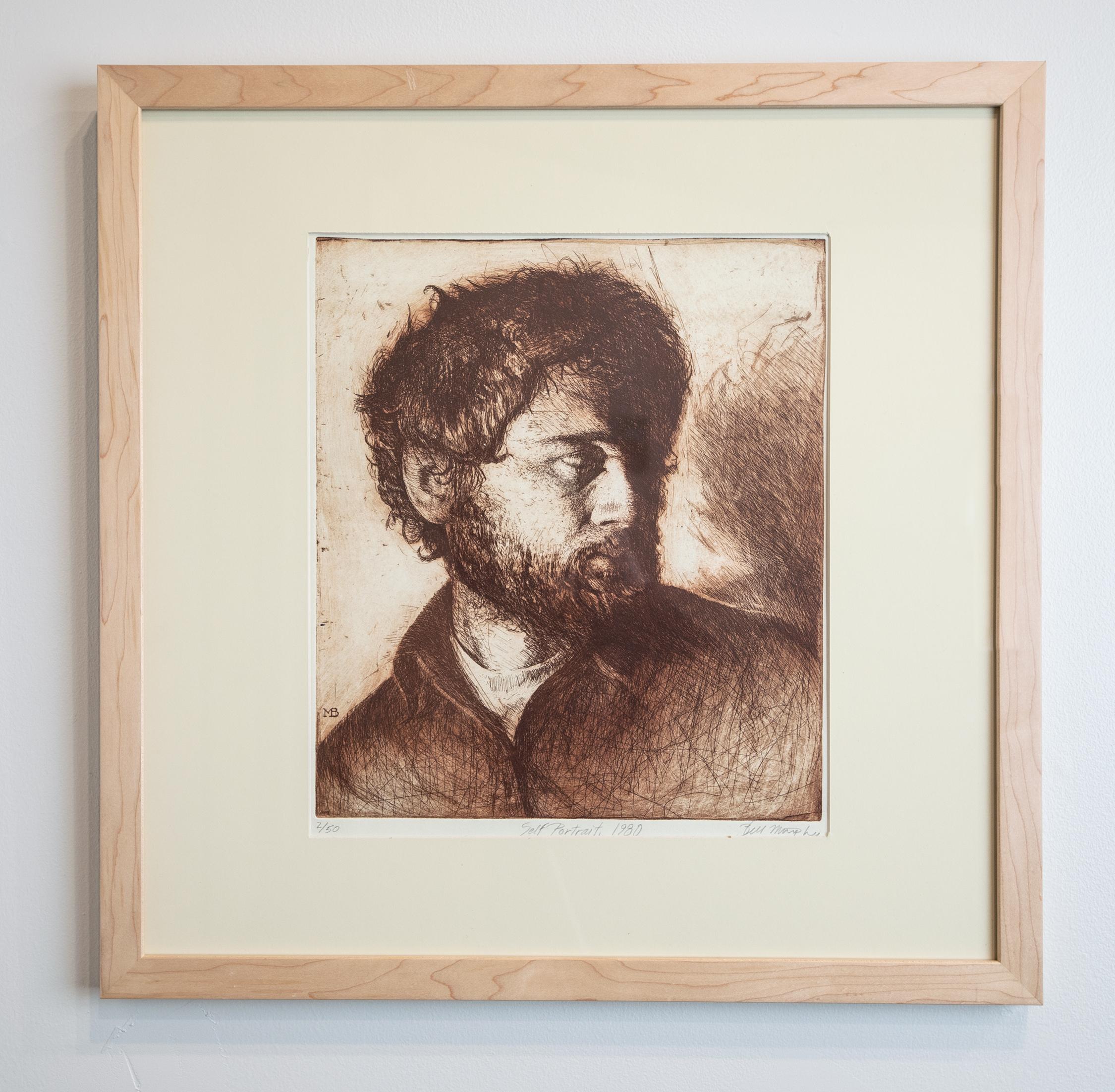 Bill Murphy, Self Portrait, Etching, 18.5in. x 17.75in., 1980