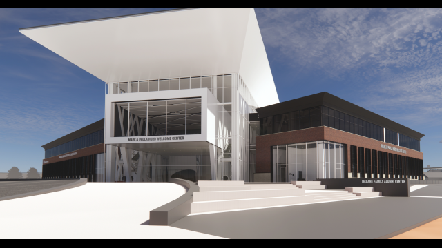 Mark & Paula Hurd Welcome Center Architectural Rendering 2021