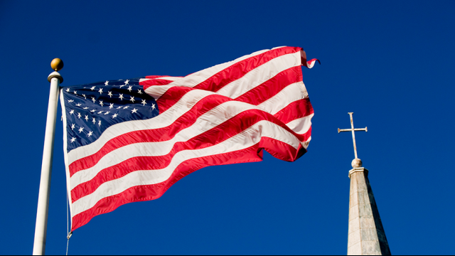 Full-Size Image: Flag and church