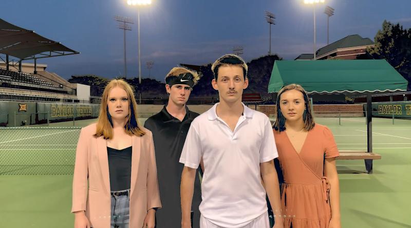 Four person cast on a tennis court