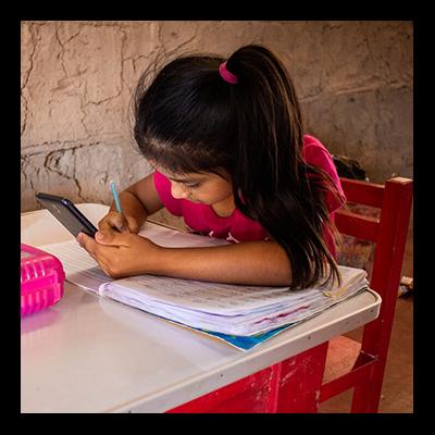 photo of child doing school work
