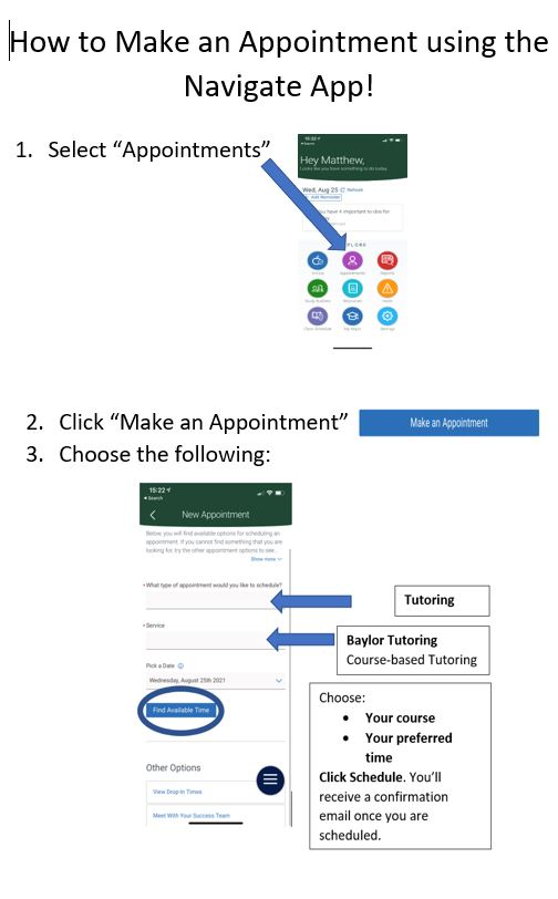 Instructions on scheduling an appointment in the Navigate app