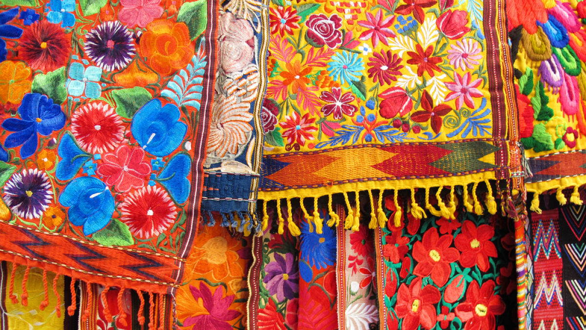 Colorful fabric with traditional Hispanic print