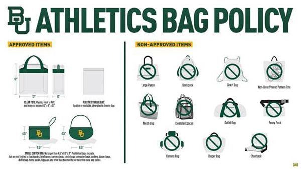 Athletics Clear Bag Policy Graphic