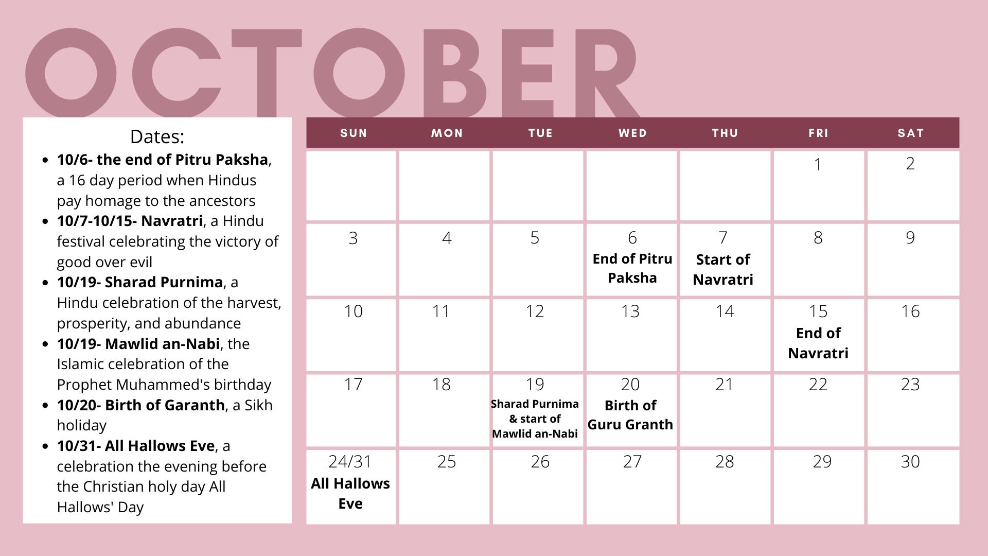 Graphic of October Calendar