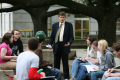 Internationally celebrated classics professor teaches in the quad