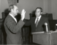 Byron Tunnell swears in Bob Bullock as Secretary of State. 1972