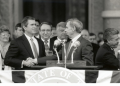 Gov. George W. Bush with Bob Bullock, at inauguration ceremonies, Austin, Texas. 1995