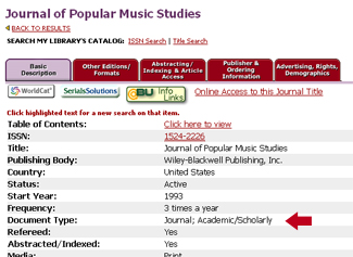 journal of popular music studies - scholarly
