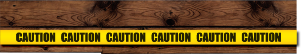 wood and caution tape design